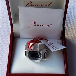 Baccarat France Diamond Crystal Silver Ring NWT